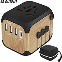 SZROBOY 2019 International Universal Travel Adapter with Premium Leather bag&Self-Reset Fuse (High-Speed 5A/30W Max,3...
