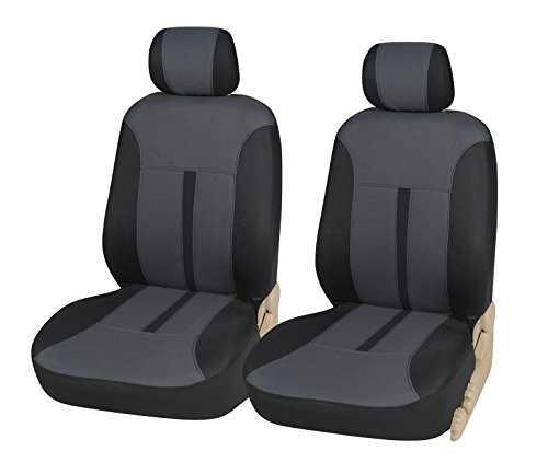 Protech N16101 Black/Charcoal Two Tone Flat Cloth 2 Front Car Seat Cover Universal Fit for Toyota Rav 4 (2 Tone Charcoal)