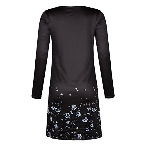 Black BODOAO Dress Ruffled Length Sleeved Casual Dress Floral Pleat Long Women Loose Knee afUC7q6
