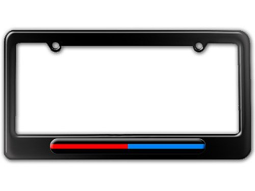 Graphics and More Thin Blue Red Line - Firefighter Police License Plate Tag Frame - Color Gloss Black