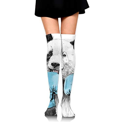 - Hateone Long Socks Boxing Minimalist Panda Graphics Knee-High Tube Thigh-High Sock Stockings for Girls & Womens