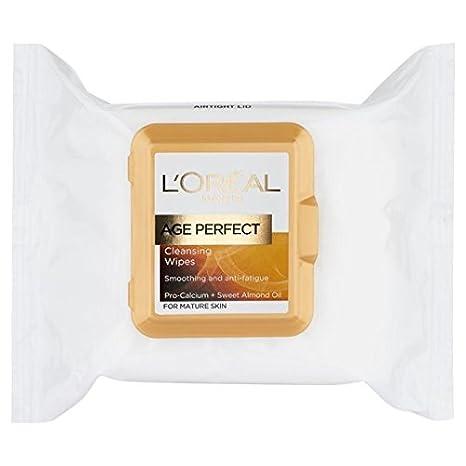 L Oreal Age Perfect Smoothing limpieza toallitas 25 por paquete