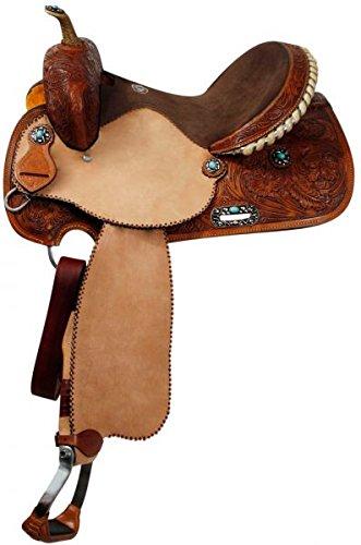 15″ Barrel Racing Saddle Leather Turquoise Stone Conchos