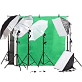 Photo Studio Vedio Photography Kit 45W Light Bulb Umbrella Backdrop Set with Ebook