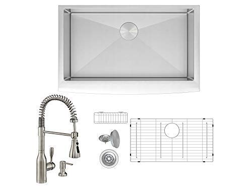 (ZUHNE Prato 36 Inch Farm Apron Sink Set + Made in Europe Flux Pull Out Industrial Spring Sprayer Faucet and Through Counter Soap Dispenser, Spot Resist Stainless)