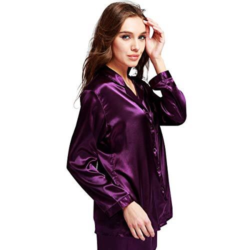 (Womens Silk Satin Pajamas Set Purple M)