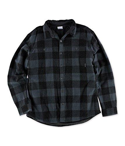 Columbia Mens Plaid Dual Pocket Button Down Shirt Black - Free Shipping Columbia