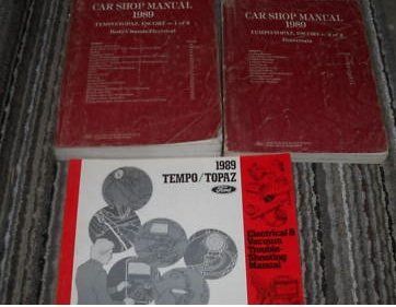 (1989 Mercury Topaz Service Repair Shop Manual Set OEM (service manual which covers the body/chassis/electrical/powertrain, and the electrical and vacuum troubleshooting manual))