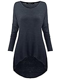 TWINTH Womens Comfy Loose Fit Long Tunic Top With Asymmetrical Hem