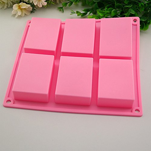 DDLmax Mould,6 Cavity Plain Basic Rectangle Silicone Mould For Homemade Craft Soap Mold -