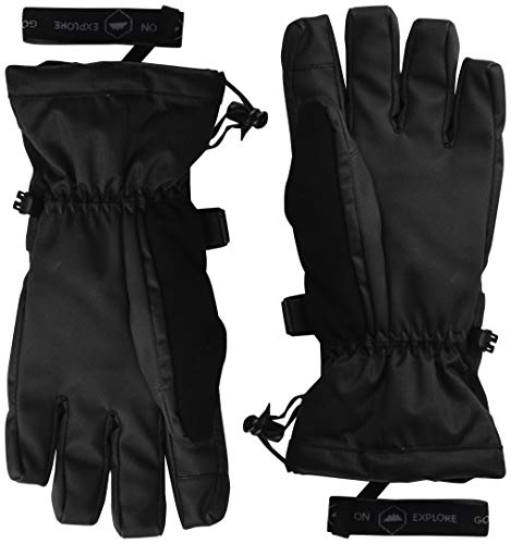 Double Black Ski & Snowboard Gloves - Waterproof Gloves with Nylon Shell Construction, Waterproof Zipper Pocket & Wrist Leashes - Designed for Skiing, Snowboarding, Shoveling - Touchscreen Compatible