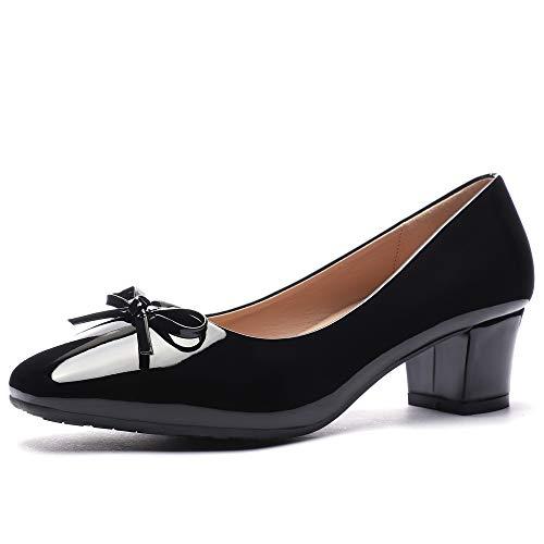 (CINAK Women Pumps Bow Comfort Cute Low Chunky Heel Work Wedding Square Toe Dress Shoes)