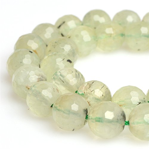Round Faceted Prehnite Gemstone Loose Beads for Jewelry Making Handmade DIY One Strand 15