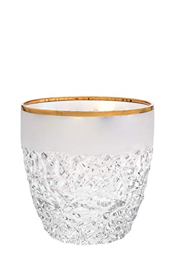 (Barski - European Quality Glass - Crystal - Set of 6 - Double Old Fashioned Tumblers - DOF - each Tumbler is 12 oz. - with Frosted Crack Design and)