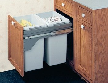 Hafele Double Waste Bin Pull-Out, 21 Gallons, Silver ()