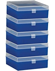 Bel-Art F18851-0012 100-Place Plastic Freezer Storage Boxes; 6 x 5.7 x 2.2 in. H, Blue (Pack of 5)