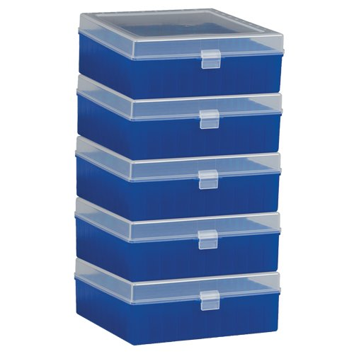 Bel-Art F18851-0012 100-Place Plastic Freezer Storage Boxes; 6 x 5.7 x 2.2 in. H, Blue (Pack of 5) from SP Scienceware
