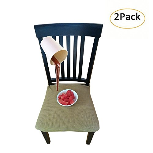 Waterproof Dining Chair Cover Protector - Pack of 2 - Perfect For Pets, Kids, Elderly, Wedding, Party - Machine Washable, Elastic, Removable, Premium Quality, Clean the Mess Easily (Mustard Yellow)