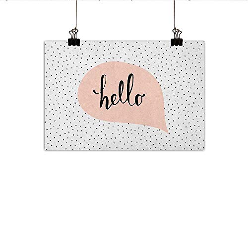 - homehot Hello Simulation Oil Painting Pink Speech Bubble with Hand Letter Message Hello on Background of Black Dots Decorative Painted Sofa Background Wall 24