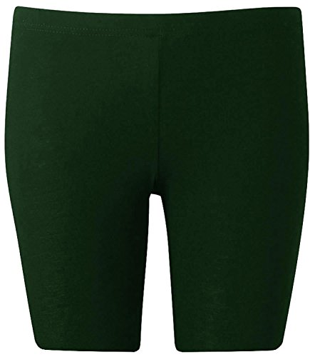 New Womens Plus Size Over Knee Plain Jersey Cycling Shorts ( Bottle Green, XL )