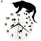 heaven2017 Naughty Cartoon Cat Acrylic Silent Quartz Movement Wall Clock Modern Home Decor