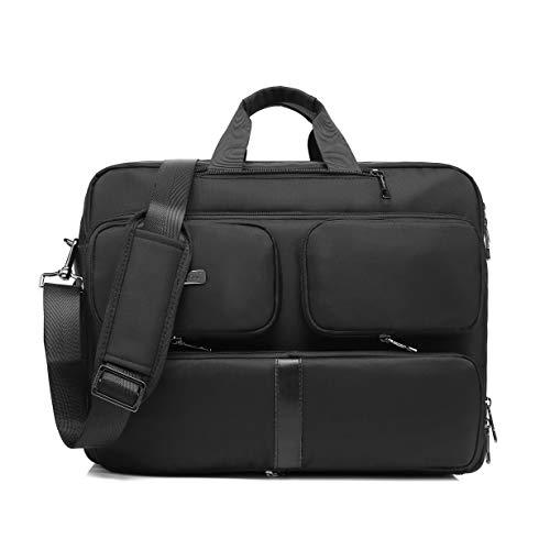 DTBG Laptop Bag Convertible Backpack Messenger Bag Nylon Shoulder Bag Men Women Business Briefcase Travel Rucksack with Side Handbag and Shoulder Strap Fits 17.3 Inches Laptop and Notebook (Black) ()