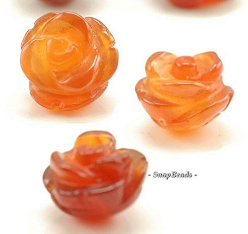 10X9MM RED Agate Gemstone Carved Rose Flower 10X9MM Loose Beads 8 Beads, Beading, Jewelry Making, DIY Crafting, Arts & Sewing by Perfect Beads Store