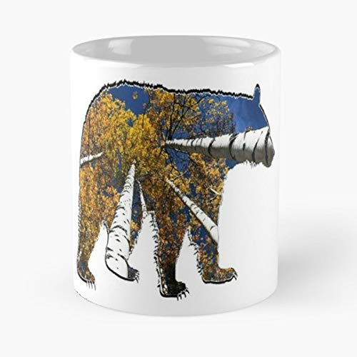 Black Bear In Aspen Forest Tree Brich - Best Gift Ceramic Coffee Mugs