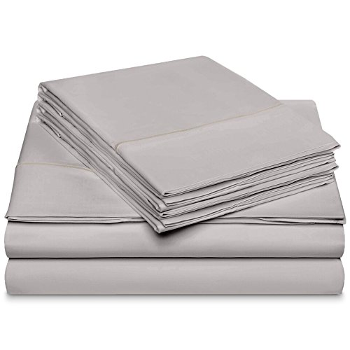 600 Thread Count 100%Long Staple Soft Cotton Sheet Set with BONUS Pillowcases,6 Piece Set,KING SHEETS,Smooth Sateen Weave,16