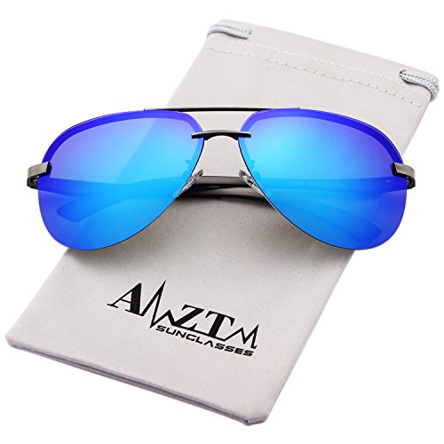 AMZTM Classic Fashion Aviator Polarized Sunglasses For Women and Men Metal Frame Colorful Mirrored Reflective REVO Lens Shades 100% UV400 Protection (Grey Frame Ice Blue Lens, - Colored Mirrored Aviators