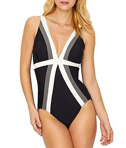 (Miraclesuit Women's Spectra Trilogy One Piece Swimsuit Black/White)
