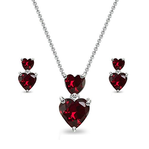 Sterling Silver Created Ruby Double Heart Friendship Necklace & Stud Earrings Set ()
