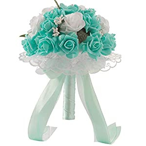 Anferstore Wedding Bouquets, Pearl Silk Roses Bridal Bridesmaid Wedding Hand Bouquet Artificial Fake Flowers for Wedding, Party and Church (Green)