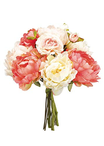 Afloral Blush Coral Silk Peony and Ranunculus Bouquet