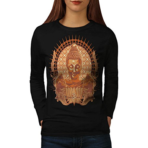Wellcoda Buddha Head Religion Women Long Sleeve T-shirt Buddha Fitted T-shirt