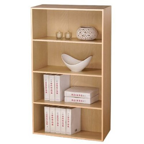 Furinno 11209SBE Pasir 4 Tier Open Shelf, Steam Beech