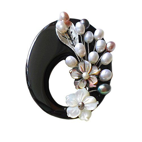 HANABE Women Fashion Handmade Onyx Stone Flower Shell Cultured Pearl Brooch Pin Pendant Black