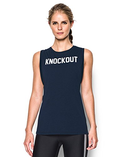 Under Armour Women's Knockout Muscle Tank, Midnight Navy/White, X-Large