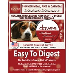 Dave's Natural Dry Dog Food, Delicate Dinners, Easy to Digest, Chicken Meal, Rice & Oatmeal, Wheat & Wheat Gluten Free (Bag 16 lb)