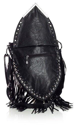 BHBS Bolso de Dama para Cruzar Estilo Vaquera con forma de V y Detalles de Flecos y Tachas 30x36x5 cm (LxAxP) negro
