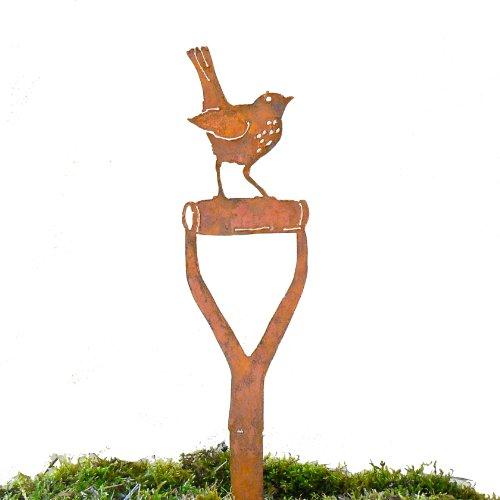 Elegant Garden Design Baby Robin Shovel Handle, Steel Silhouette with Rusty Patina