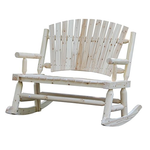 VH FURNITURE Porch Rocking Chair Loveseat Fan Back Design Patio Rocker Natural Outdoor And Indoor Use For Garden And Balcony, Fir Wood Review
