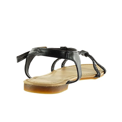 Angkorly - Zapatillas de Moda Sandalias correa mujer brillante multi-correa Talón Tacón ancho 1.5 CM - Negro