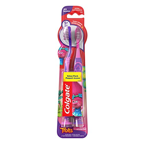 Price comparison product image Colgate Kids Toothbrush, Trolls Value Pack, Extra Soft, 2 Count