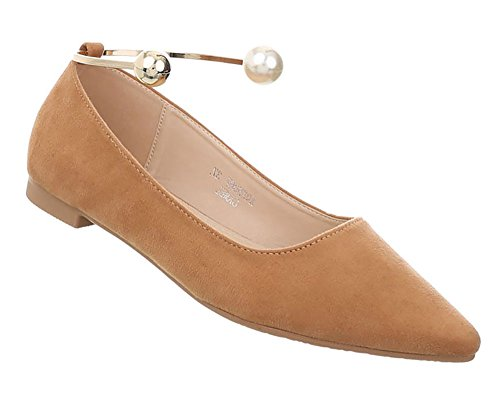 Damen Schuhe Ballerinas Pumps Camel