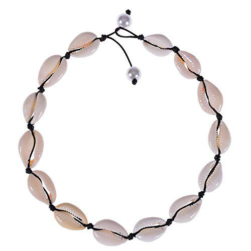 Weilim Natural Shell Choker Necklace for Women Handmade Hawaii Wakiki Beach Choker Jewelry Gift (Black-14)