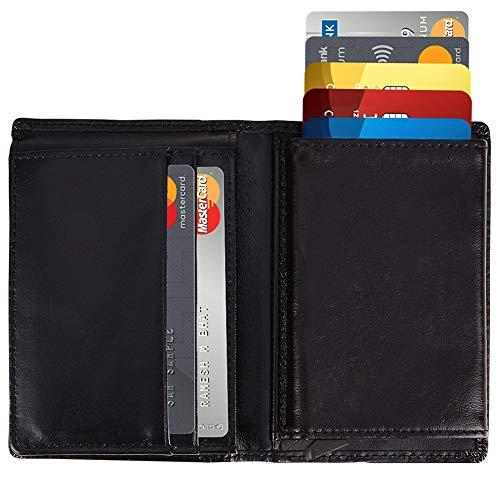 Mens Genuine Leather Wallet, Modoker Bifold Smart Slim Wallet Anti-Theft Best RFID Blocking Pop Up Credit Card Holder Wallet- Gift for Men (Black)