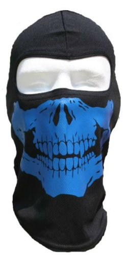 Motorcycle Face Mask Graphic (BLUE SKULL FULL FACE MASK motorcycle FULL SKI PAINTBALL HOOD)
