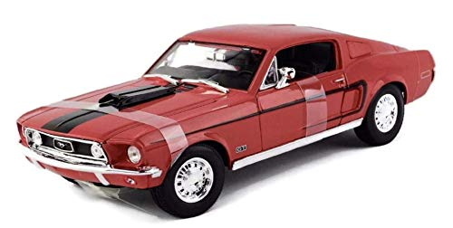 Maisto 1:18 Scale 1968 Ford Mustang GT Cobra Jet Diecast Vehicle (Colors May Vary)