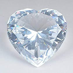 Clear Diamond Heart Shaped Glass Crystal Paperweight